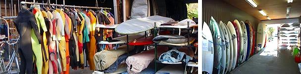 トレジャーサーフのレンタルボードとボードロッカー